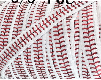 "5yd-Satin Elastic 5/8"" Approx- Foldover Elastic, Stretch Elastic, Headband Elastic, Foil Baseball Elastic, BASEBALL  STITCHES (FOE)"