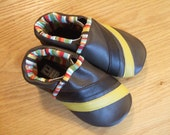 baby boy shoes brown and yellow striped leather size 12-18 months