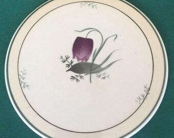 Vintage Royal Copenhagen Purple Tulip Trivet Denmark  Hot Plate Round Tile Trivet Circa 1903-1969
