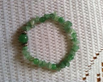 Healing Chakra Gemstone Chip Stretch Bracelet, Chakra Gemstones, Meditation Gemstone Bracelet, Green Aventurine Gemstone Bracelet