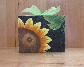 Yellow Sunflower with Green Ribbon, Standing or Hanging Decoration, Tole or Hand Painted, Wood Wall Hanging, Shelf Sitting Folk Art