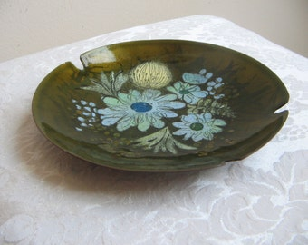 Mid Century Enamel On Copper Round Ashtray Plate Dish With Flowers Signed Sascha B. By Sascha Brastoff, Vintage Modern Abstract Wall Art