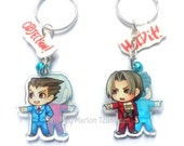 Clear acrylic double sided Ace attorney Phoenic Wright Chibi Charm keychain
