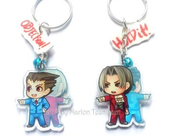 "Clear acrylic 2"" double sided Ace attorney Phoenic Wright Chibi Charm keychain"