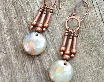 Copper drop earrings, copper jewelry, boho earrings, boho jewelry, Czech glass earrings