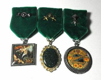 Steampunk Cosplay Medal // Custom DOUBLE CHARM Medallion // Green Velvet Ribbon // Optional Studding