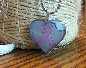 Pink Ribbon Breast Cancer Awareness in the Sand Beach Writing Necklace