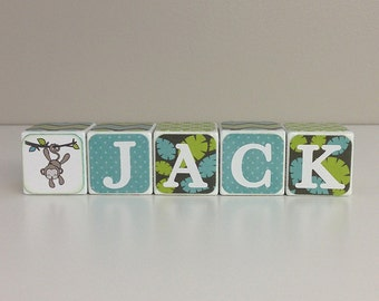 Jungle Theme Baby Shower, Baby Name Blocks, Jungle Nursery