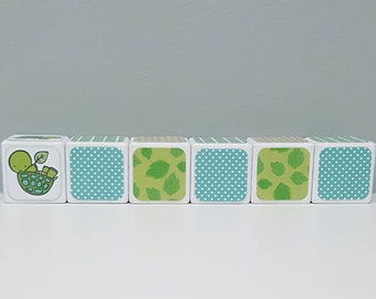 Baby Shower Decorations, Aqua and Green Turtle Bay Inspired Name Blocks, Word Blocks