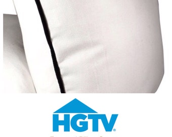 Solid White Cotton Pillow Cover With Piping - HGTV Magazine Featured Pillow Cover