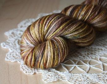 Hand Dyed Worsted Weight Yarn / Pecan Oak Mocha Bark Brown Grey Superwash Merino Wool