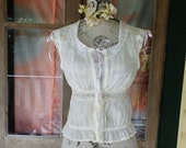 olde worlde camisole top, upcycled, vintage  cotton lace, s / medium