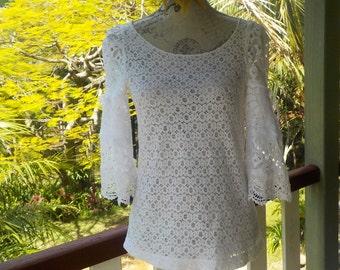 lush lace top, romantic boho alternative, s / m