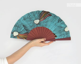 Wax block print fan with leather case - Ankara Hand fan - Waves on blue and violet wood