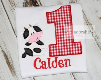 Cow Appliqued Birthday Shirt or Bodysuit with FREE PERSONALIZATION. Barnyard Birthday Party. Smash Cake Outfit. Choose your number. Monogram
