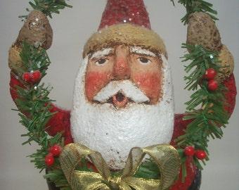 Santa Folk Art Paper Mache Whimsical Santa