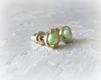 Pea Green Studs, Gold Pearl Studs, Freshwater Pearl Posts, Gold Stud Earrings, Real Pearl Studs, Little Stud Earrings, Small Pearl Earrings