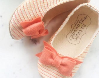 Baby Girl Shoes Toddler Shoes Infant Shoes Soft Sole Shoes Coral Shoes Orange Shoes Summer Shoes - Sloan