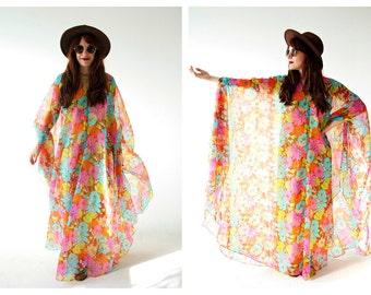 60s Neon Flowy Caftan Dress- Sheer, Cape Chiffon Maxi Hippie Boho Dress, Florence Welch, Stevie Nicks Gauzy