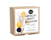 NEW!  Metallic Party Balloons / Includes 3 Confetti Balloons / 12 count