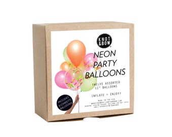 Neon Party Balloons / Includes 3 Confetti Balloons / 12 count