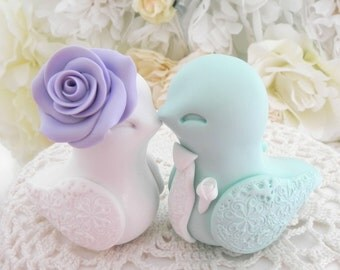 Love Bird Wedding Cake Topper, Lilac, White and Mint Green, Bride and Groom Keepsake, Fully Custom