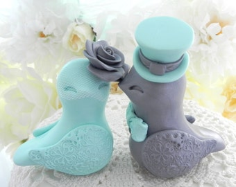 Love Birds Wedding Cake Topper, Aqua Mint and Silver, Bride and Groom Keepsake, Fully Customizable