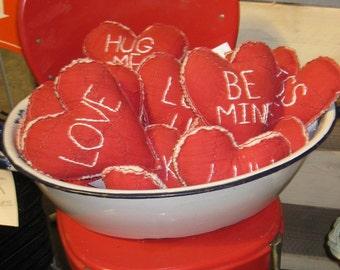 Valentine Conversation Heart, Vintage Red Quilt, Embroidered