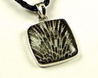 Rare Stingray Coral Sterling Silver Pendant - N855