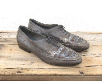 Grey Leather Huarache Brogues Oxford Mens Size 7.5, Ladies 8.5