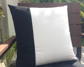 Outdoor Colorblock Pillow - Black and White Outdoor Pillow Cover - Black Pillow - White Pillow - Outdoor Pillow - Decorative Pillow