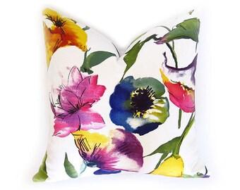 Watercolor Flower Decorative Pillow Cover - Fuchsia - Blue - Yellow - Green - Designer Pillow - Linen Pillow - Floral Pillow - Watercolor