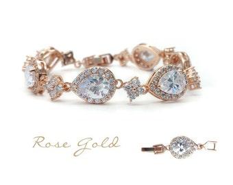 Rose gold tear drop bracelet - Rose Gold
