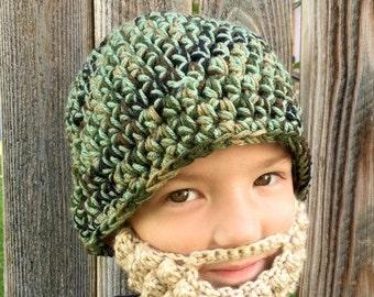 Back to School SALE Beard And Hat Set--Baby Beard--Duck Hunting--Camo Hat--Camo Baby--Crochet Beard--Knit Beard--Crochet Camouflage Hat--Duc