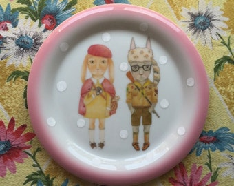Moonrise Bunnies with White Spots Vintage Illustrated Plate