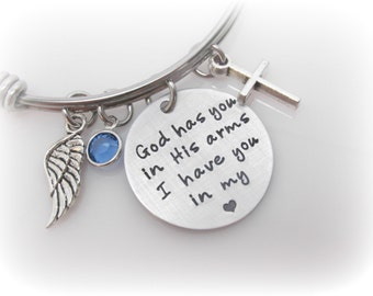 Memorial Jewelry God Has You in His Arms I Have You In My Heart Remembrance Jewelry Sympathy Gift Miscarriage Jewelry Hand Stamped Bracelet