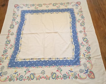 Vintage Startex Starglow Pattern Blue Yellow Green Red Tablecloth 52X62 Inches