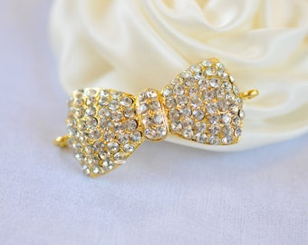 Gold Rhinestone Flatback Crystal Bow Connector Embellishment Flatback DIY Jewelry Hair Bridal Wedding Gift Craft Supplies