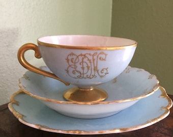 1906 hand painted monogramed tea cup saucer and plate