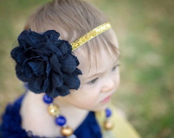 Baby Headbands, Baby Girl Headbands, 1st Birthday Photo Prop, Hair Accessories, Newborn Headbands, Gold & Blue Flower Headband