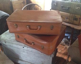 Vintage Leather Luggage Set Suitcase Cowhide