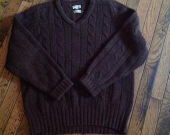 Vintage Brandeis Alan Paine Shetland Wool Sweater Sz 44 England