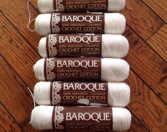 Vintage Baroque Super Mercerized Crochet Cotton White 6 Skeins