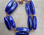 Women's Statement Royal Blue Ceramic Bracelet. Chunky Hand Crafted Bracelet