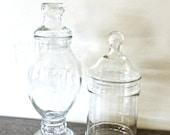 vintage apothecary jars - 1940s-50s lidded glass jars set of 2