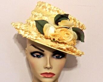 vintage yellow straw hat - 1950s yellow hat w/ flower