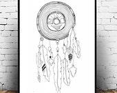 Vinyl Record Tribal Digital Art Print, Music Dream Catcher Digital Art Print, Illustrated Wall Art