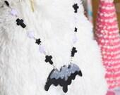 Creepy Cute Kittywood Designs Orginal Melty Bat Necklace Black x Lavender