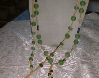 Choice of Long Beach Glass Beads NECKLACE on Deerskin Thong