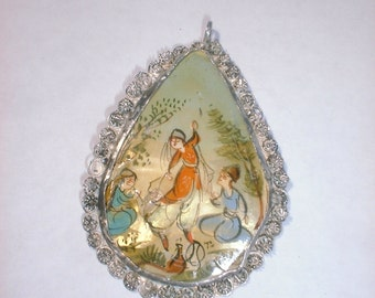 Antique Pendant - Silver Pendant - Persian Silver - Hand Painted - Necklace - Dancing Women
